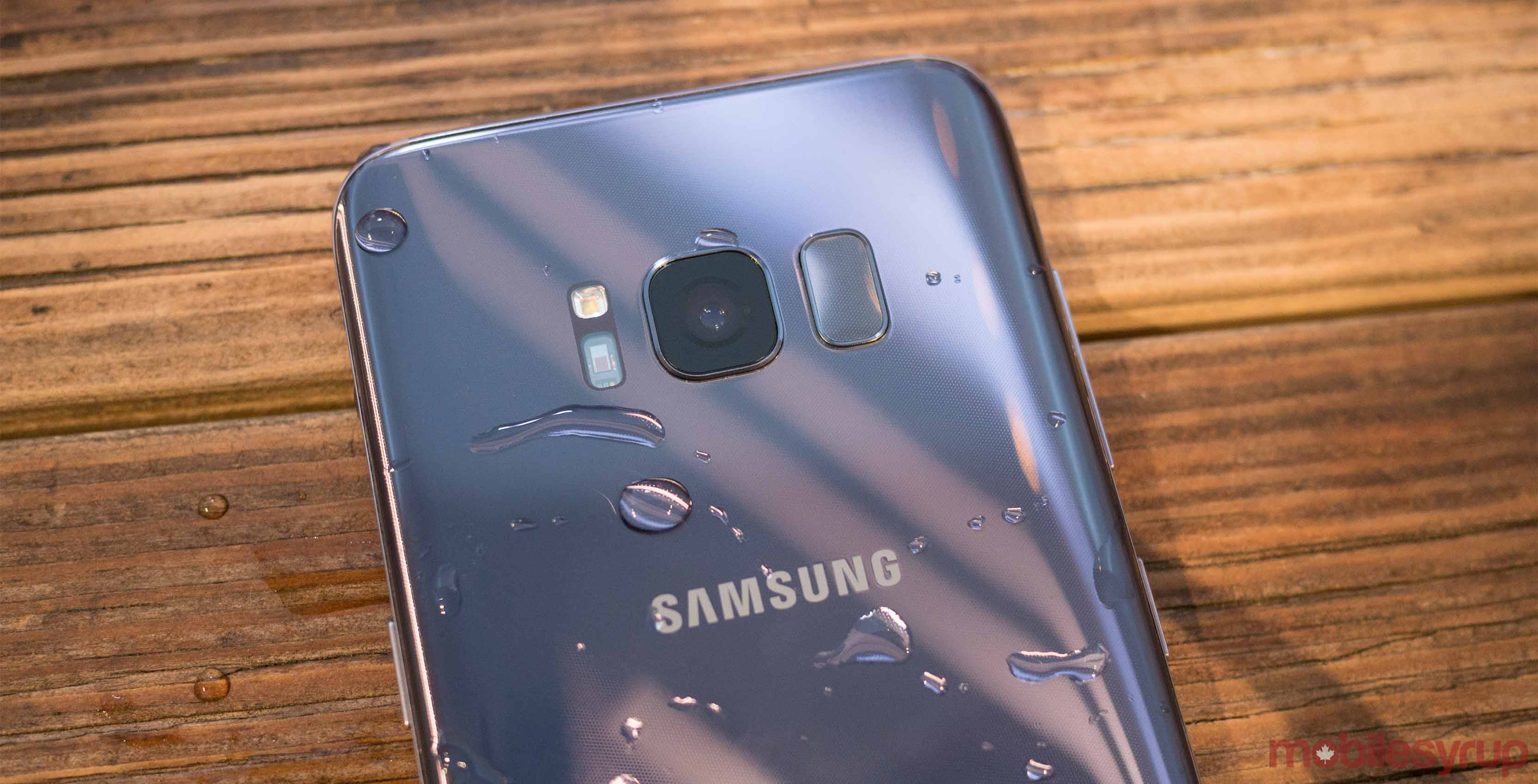Samsung Galaxy S8 with water on it