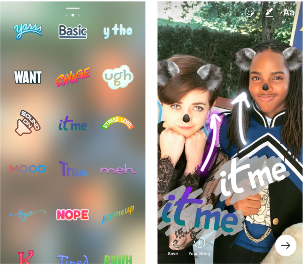 Examples of Instagram's new phrase stickers