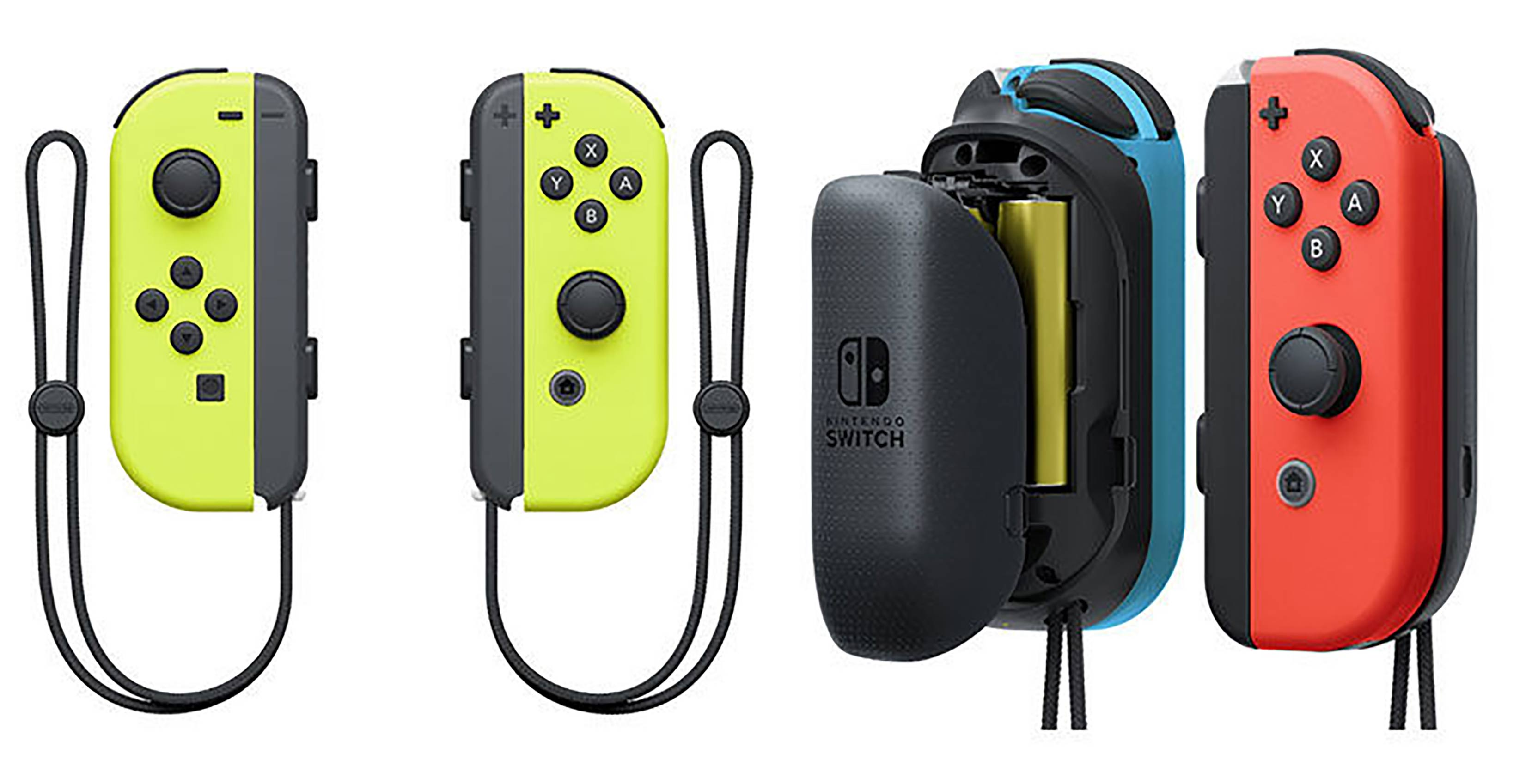 neon yellow joycons with the red joycon