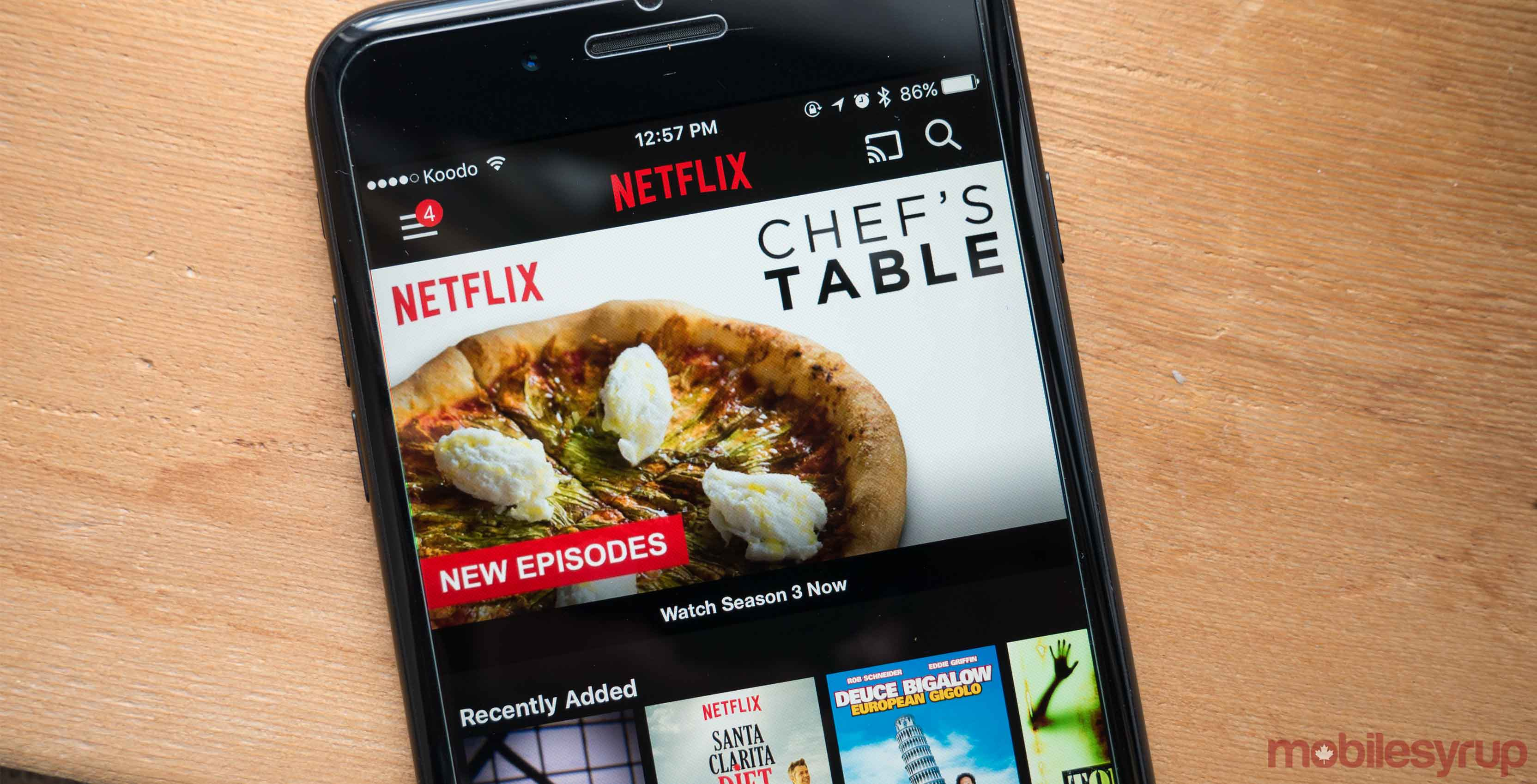 Netflix on phone - Chef's Table