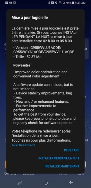 Galaxy S8 Red Tint Bell Update