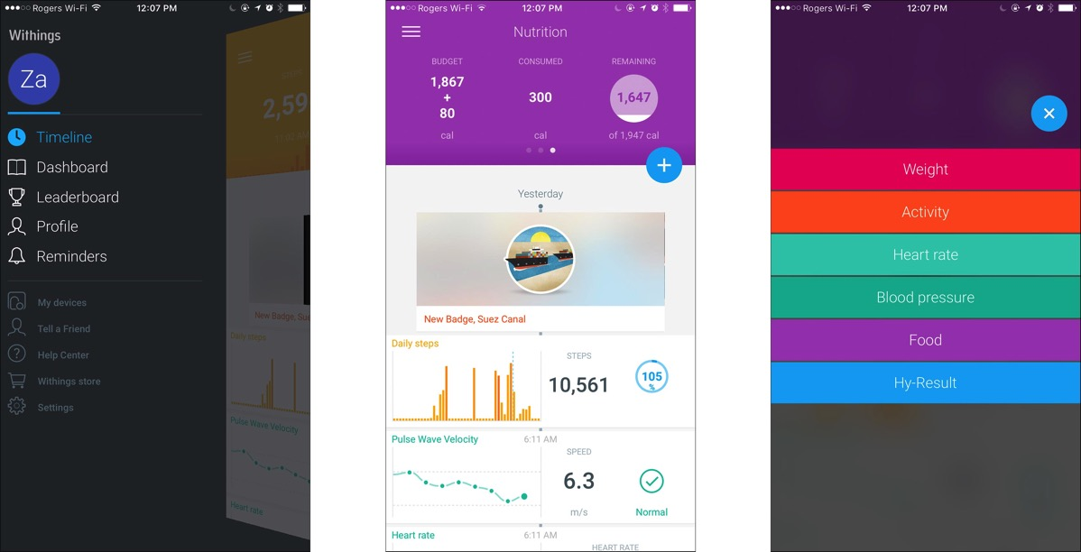 Withings app screen shots