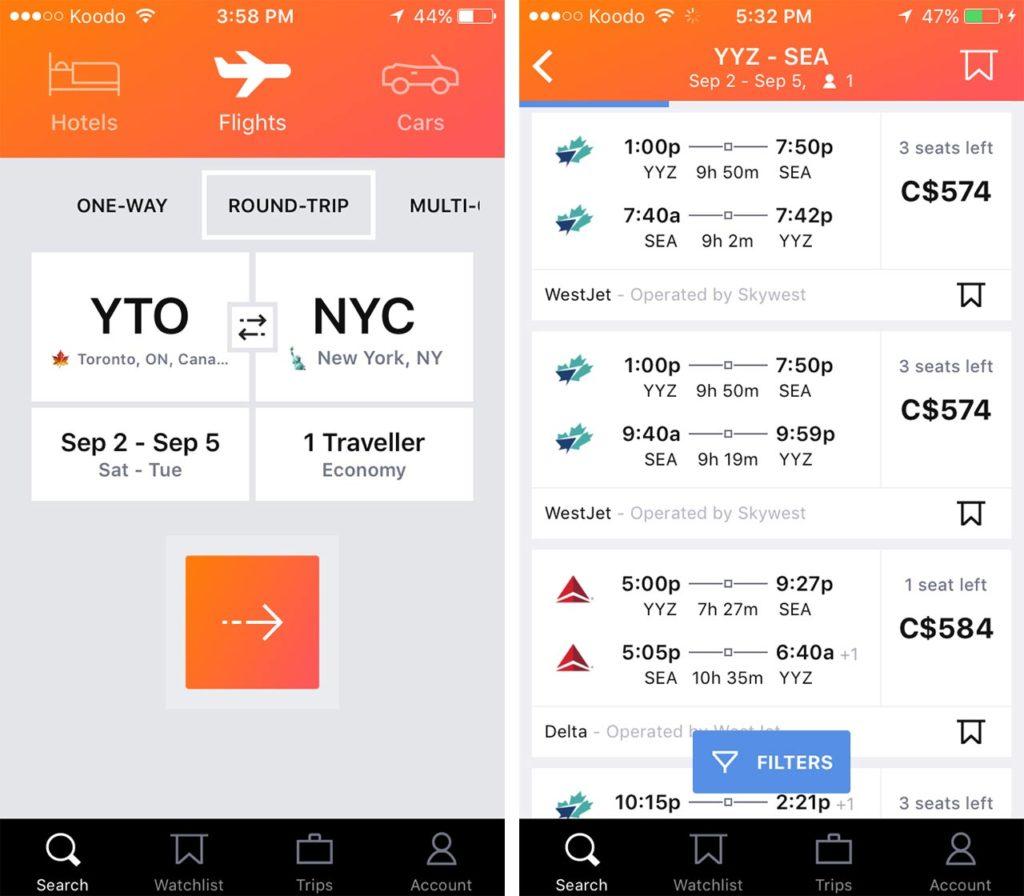 Kayak app flight booking