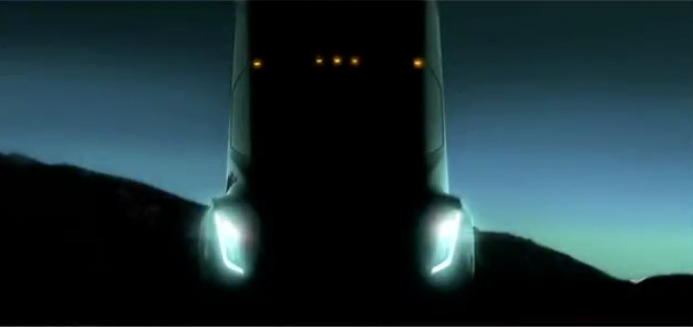 A shadowy image of Tesla's upcoming electric semi-truck