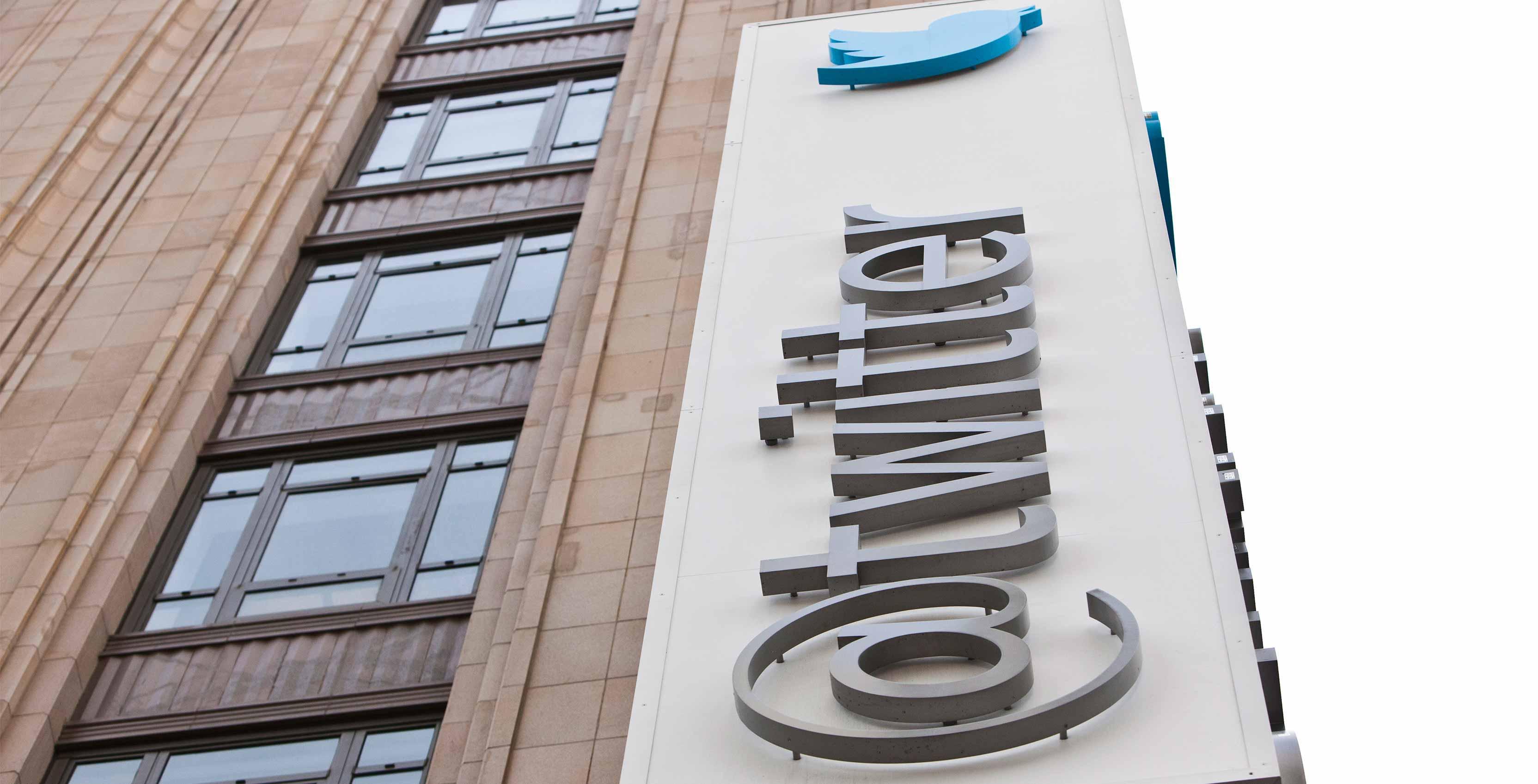 Twitter logo on building