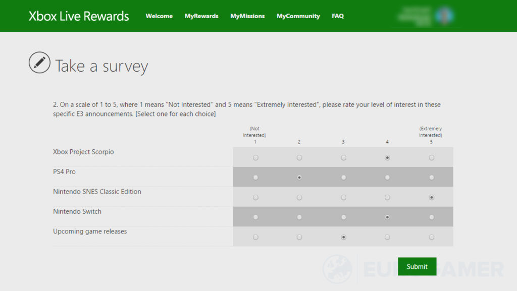 Xbox SNES survey