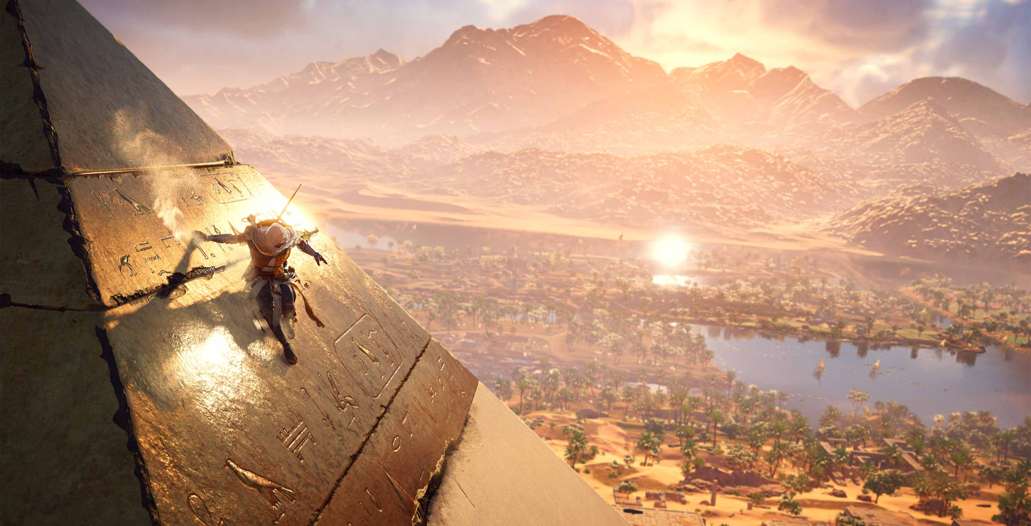 Assassin's Creed Origins climbing pyramid