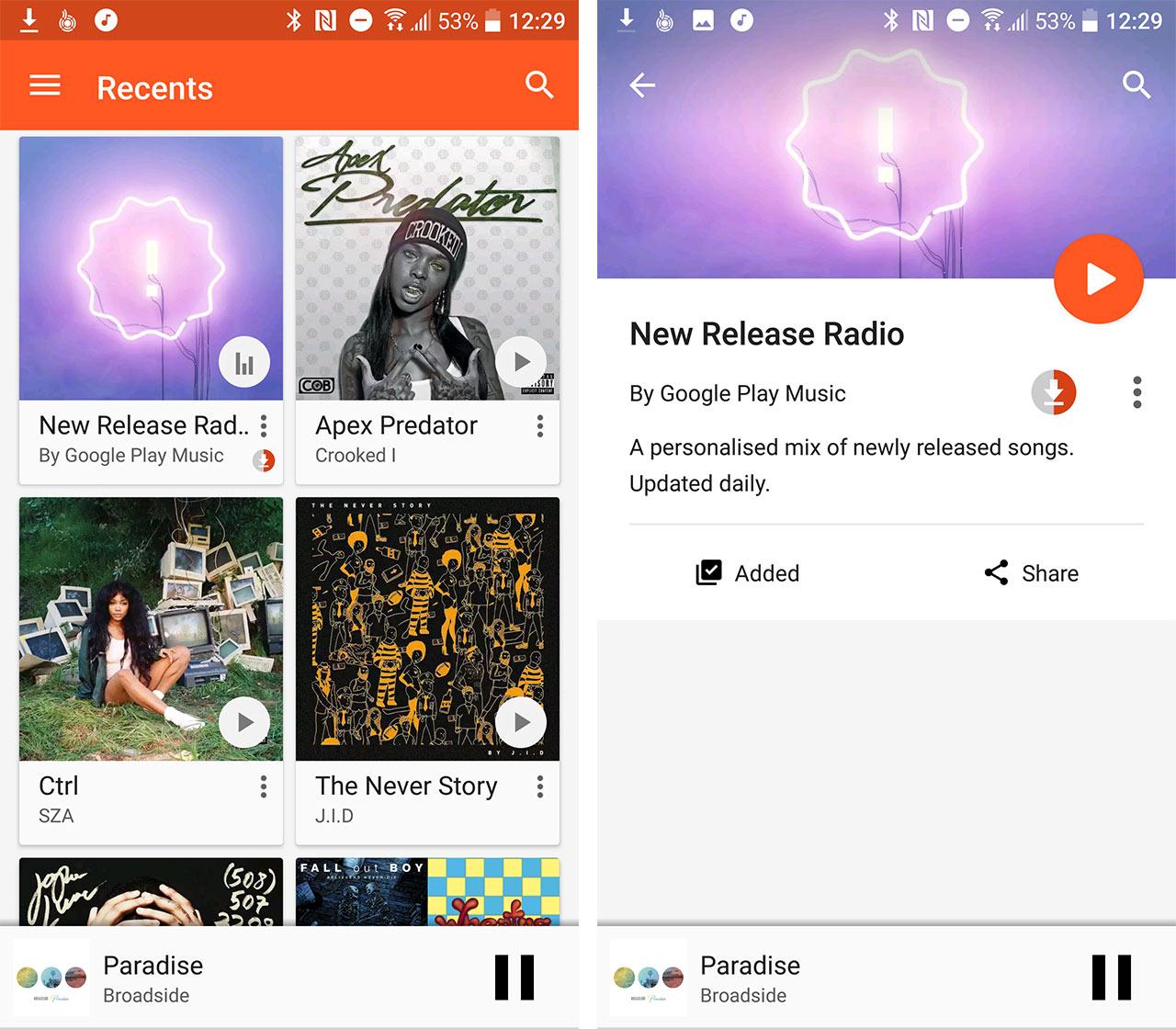 New Release Radio playlist on Google Play Music