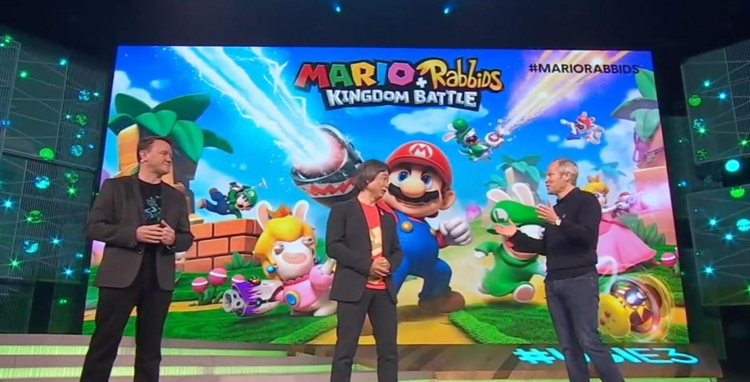 An image featuring Shigeru Miyamoto on-stage at Ubisoft's E3 2017 conference