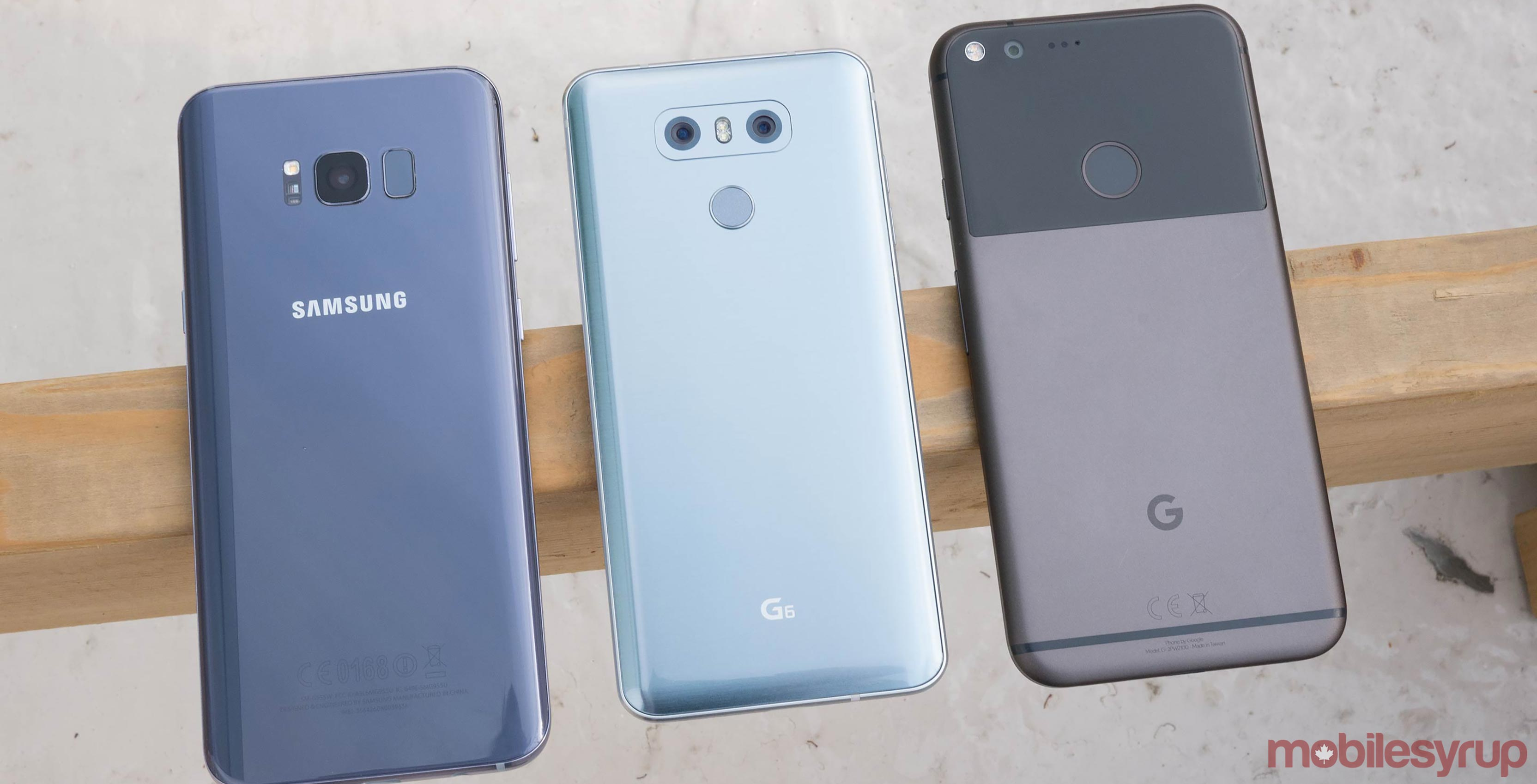 The Galaxy S8, LG G6 and Google Pixel XL all next to one another
