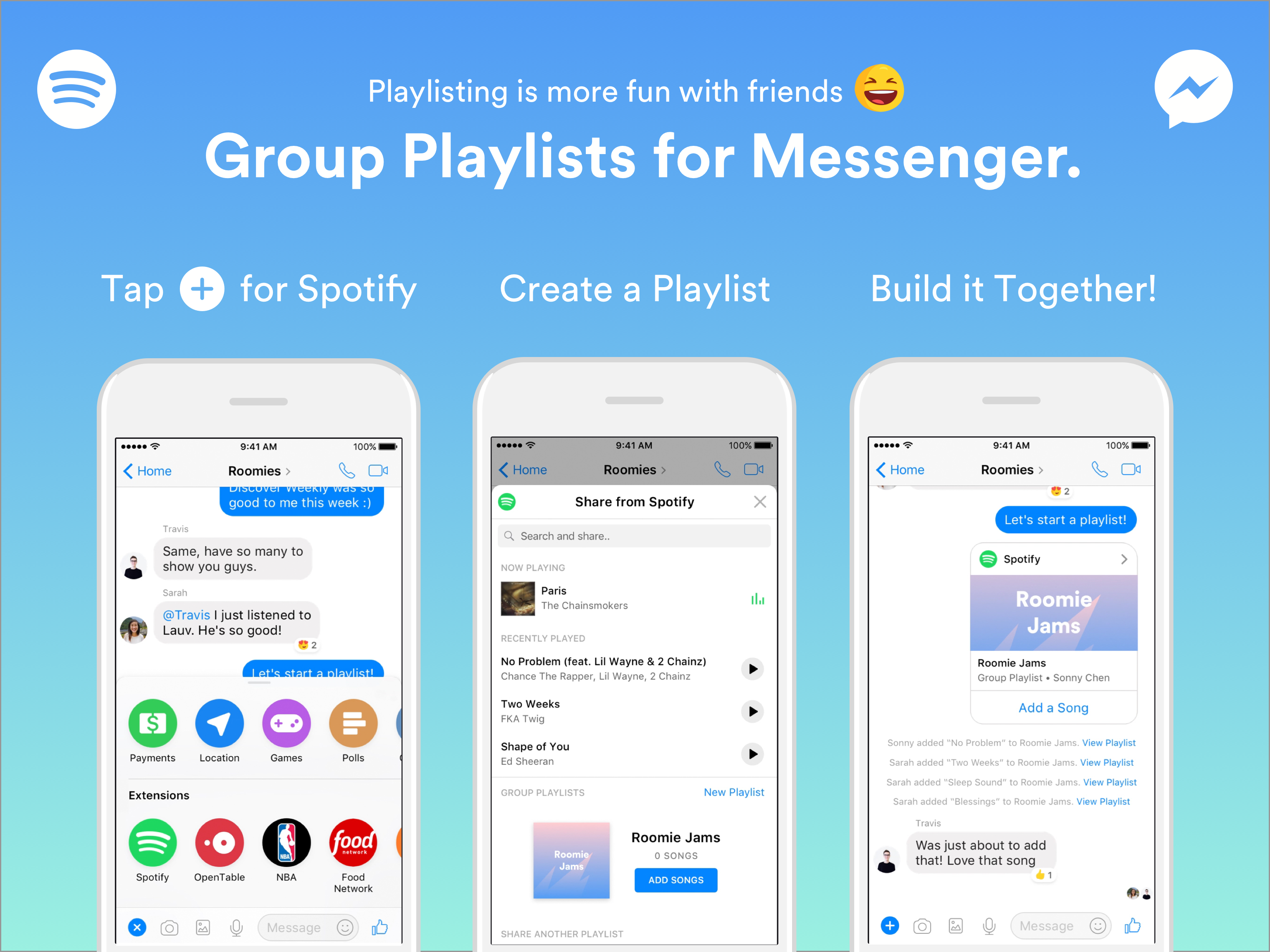 Spotify Facebook Messenger extension