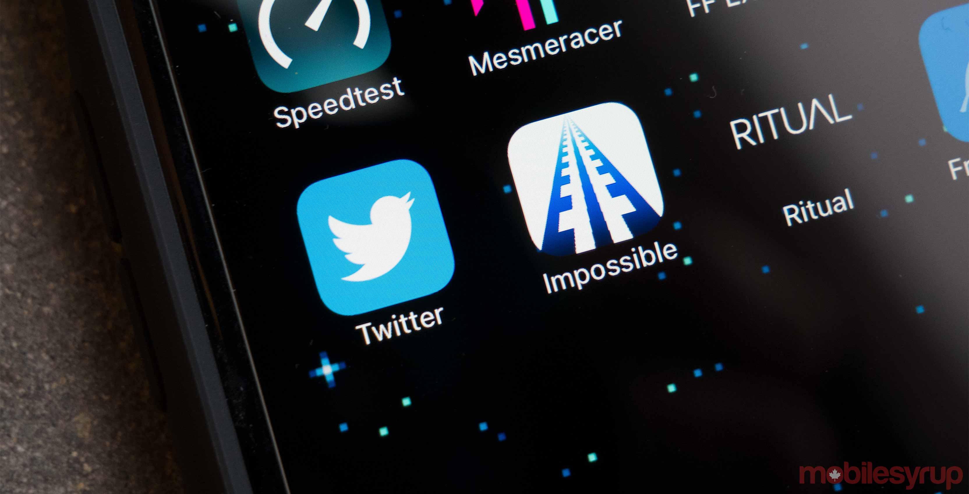Twitter app on phone
