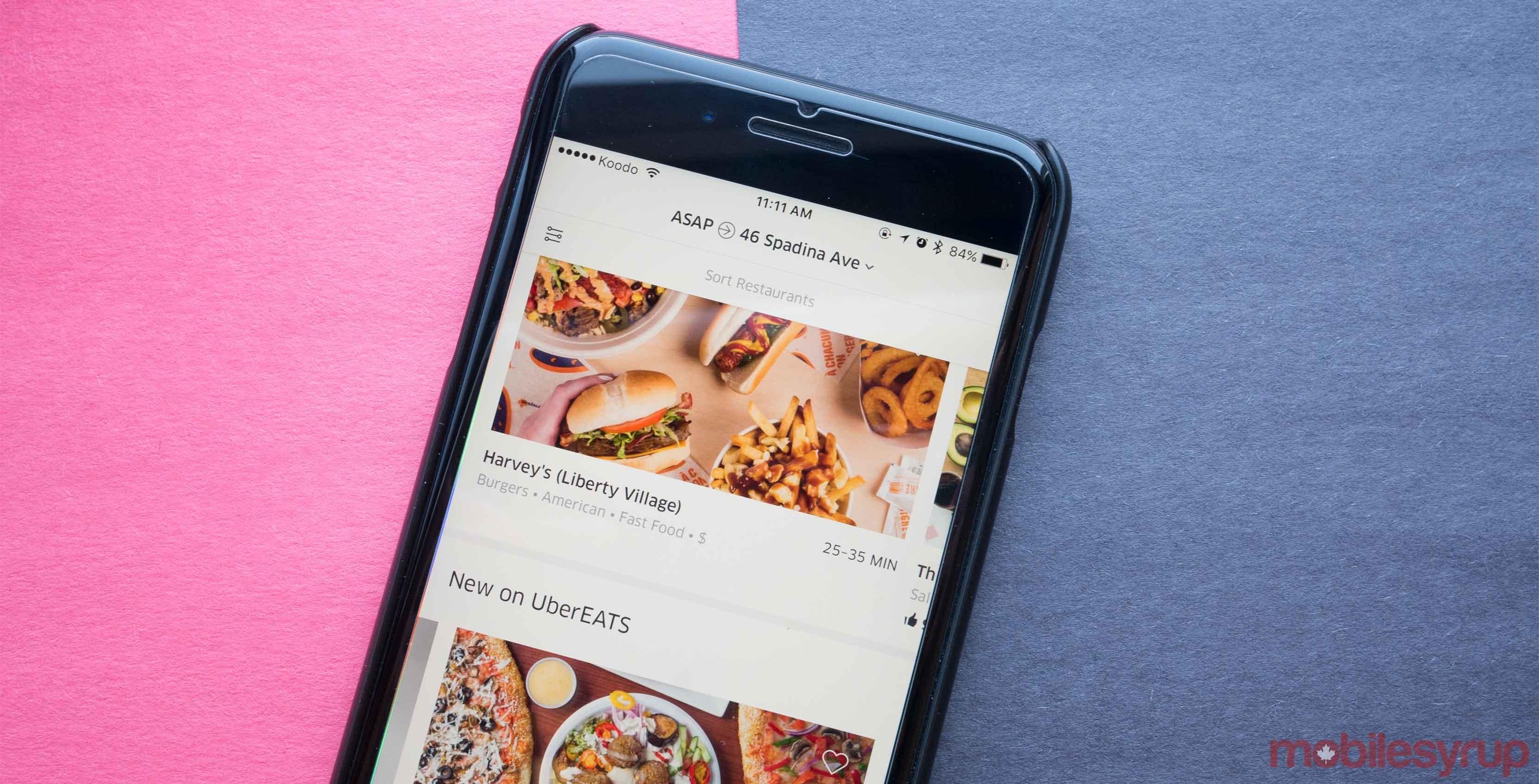 Uber Eats app on phone