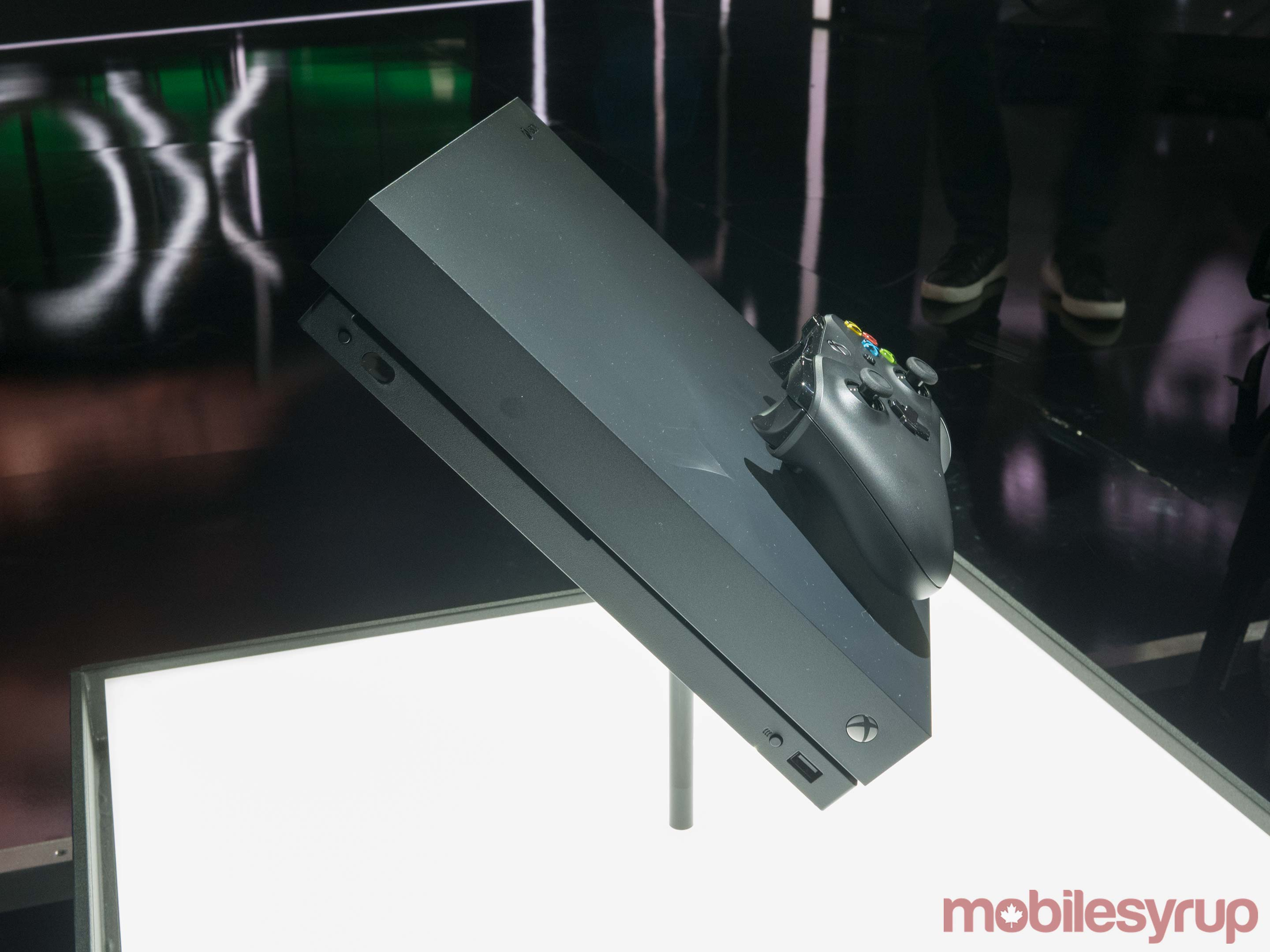 Xbox One X console side view