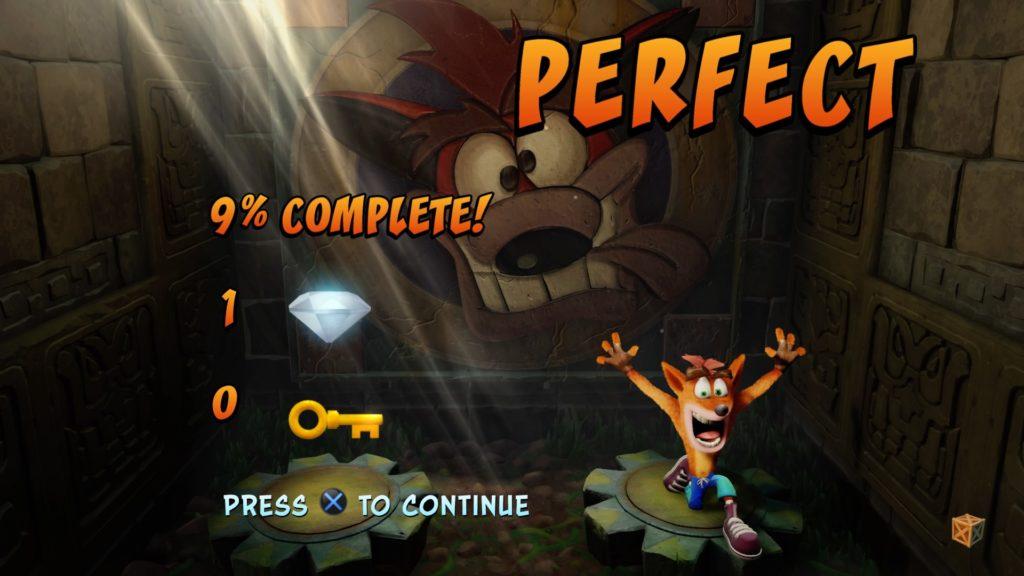 Crash Bandicoot perfect screen