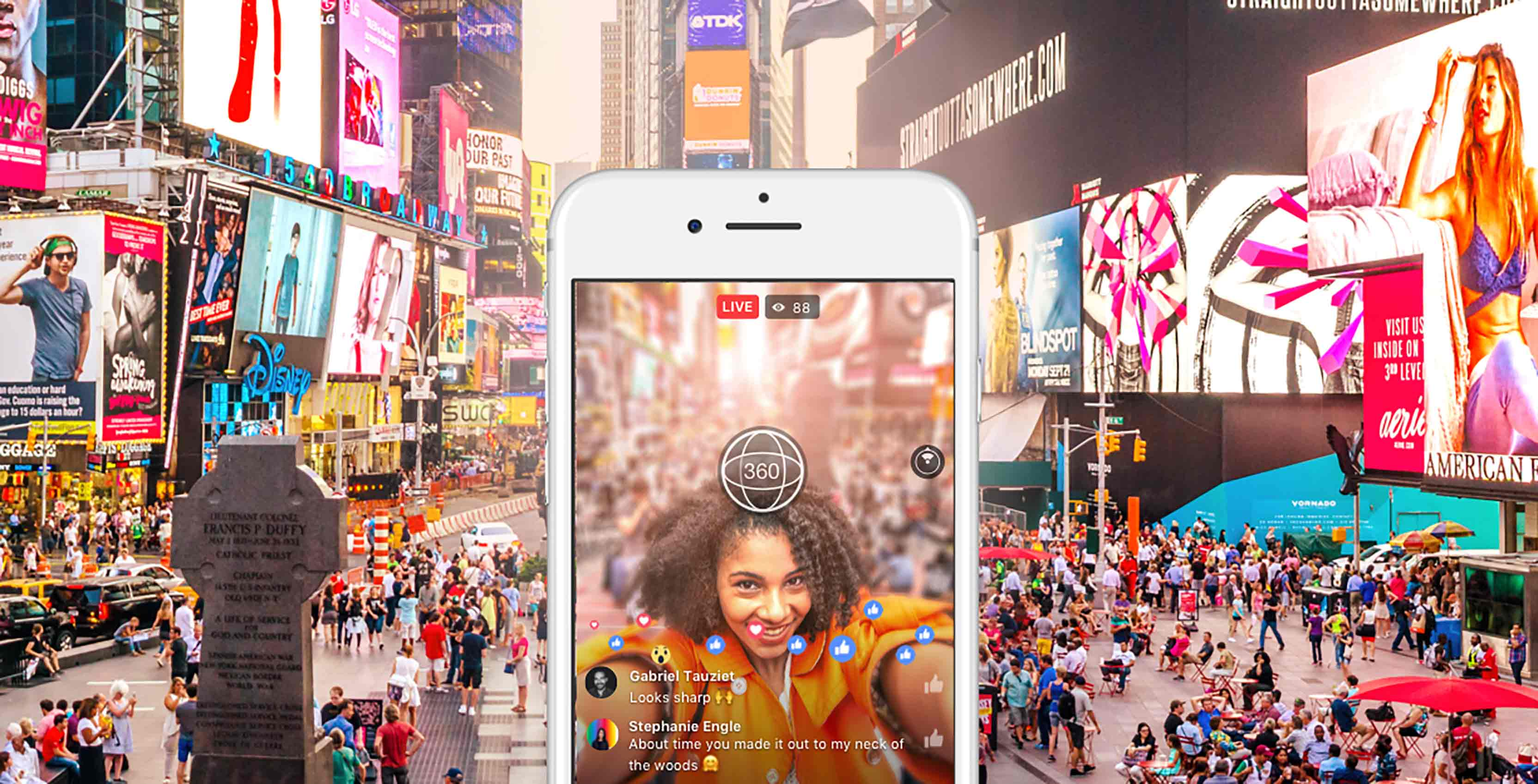 Facebook Live 360 image woman on phone