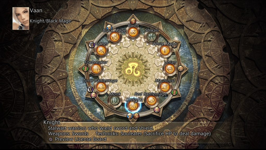 Final Fantasy XII Job system Vaan