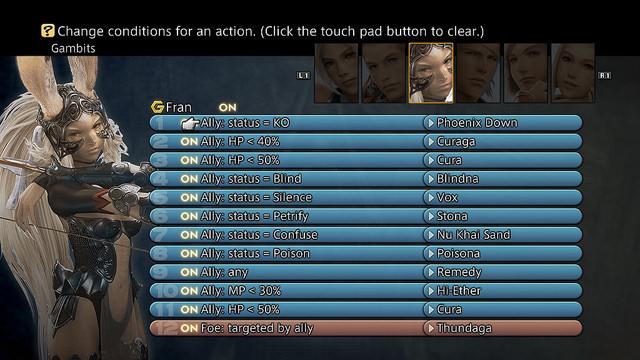 Final Fantasy XII Gambit system Fran