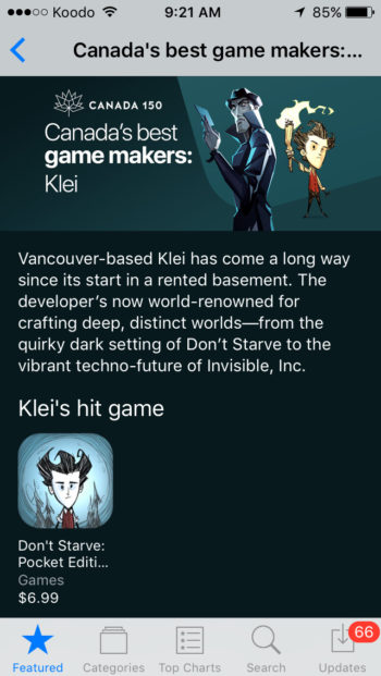 Klei Entertainment Canada Best Game Maker section on iOS