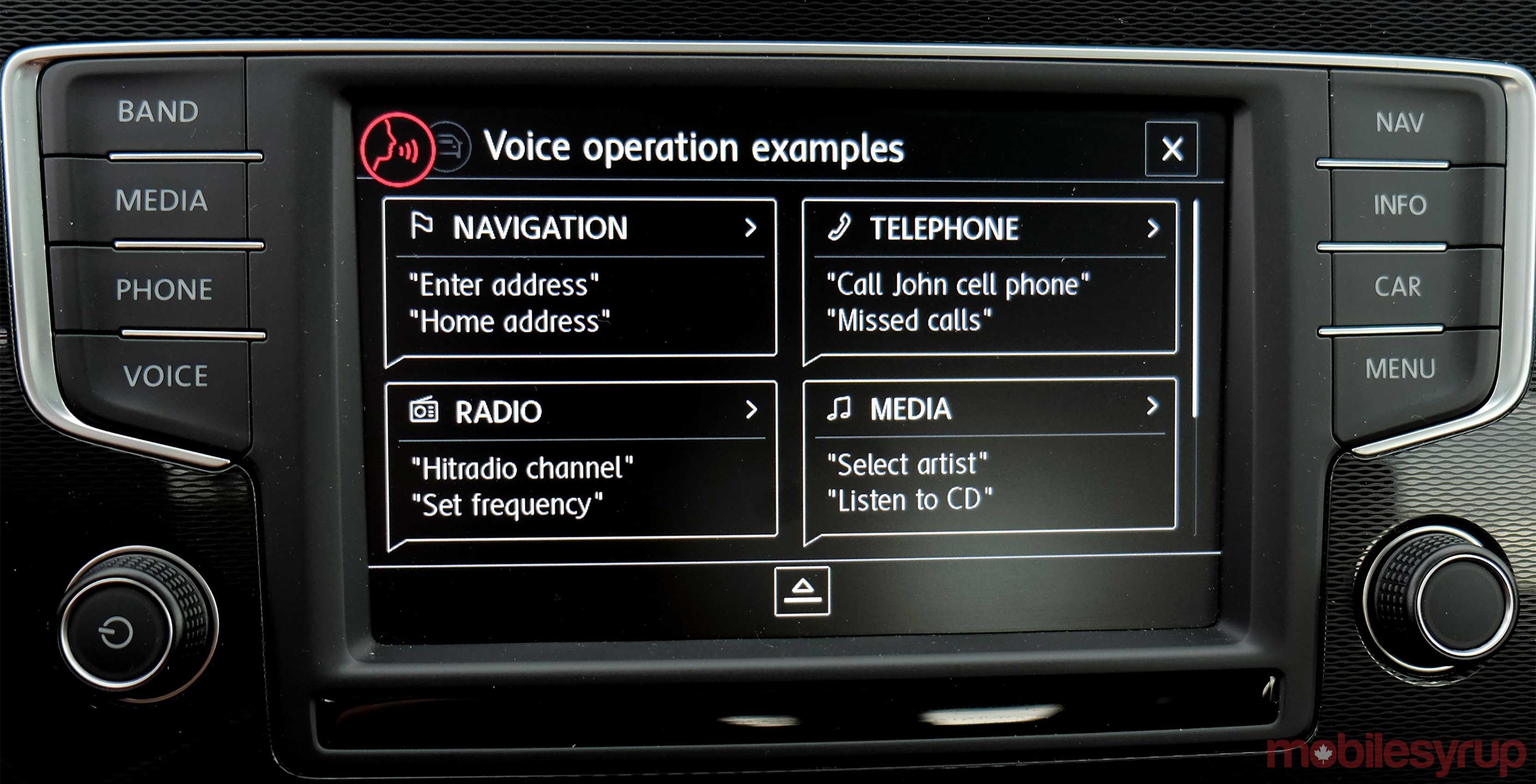 VW MIB Voice controls