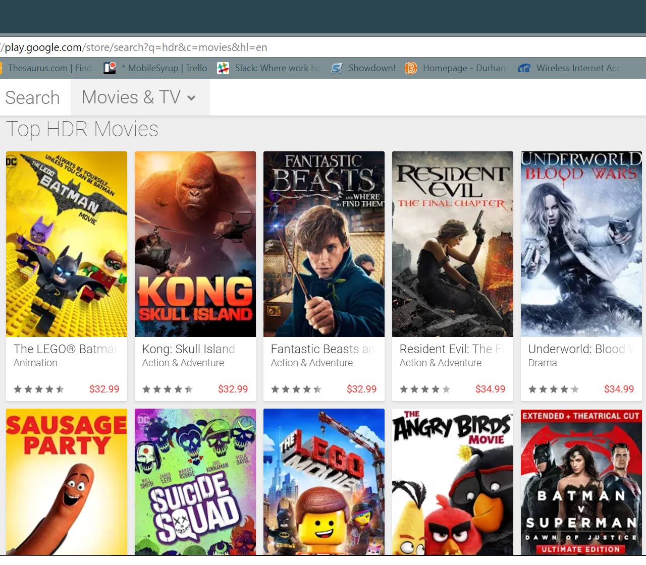 Google Play movies & TV HDR search results