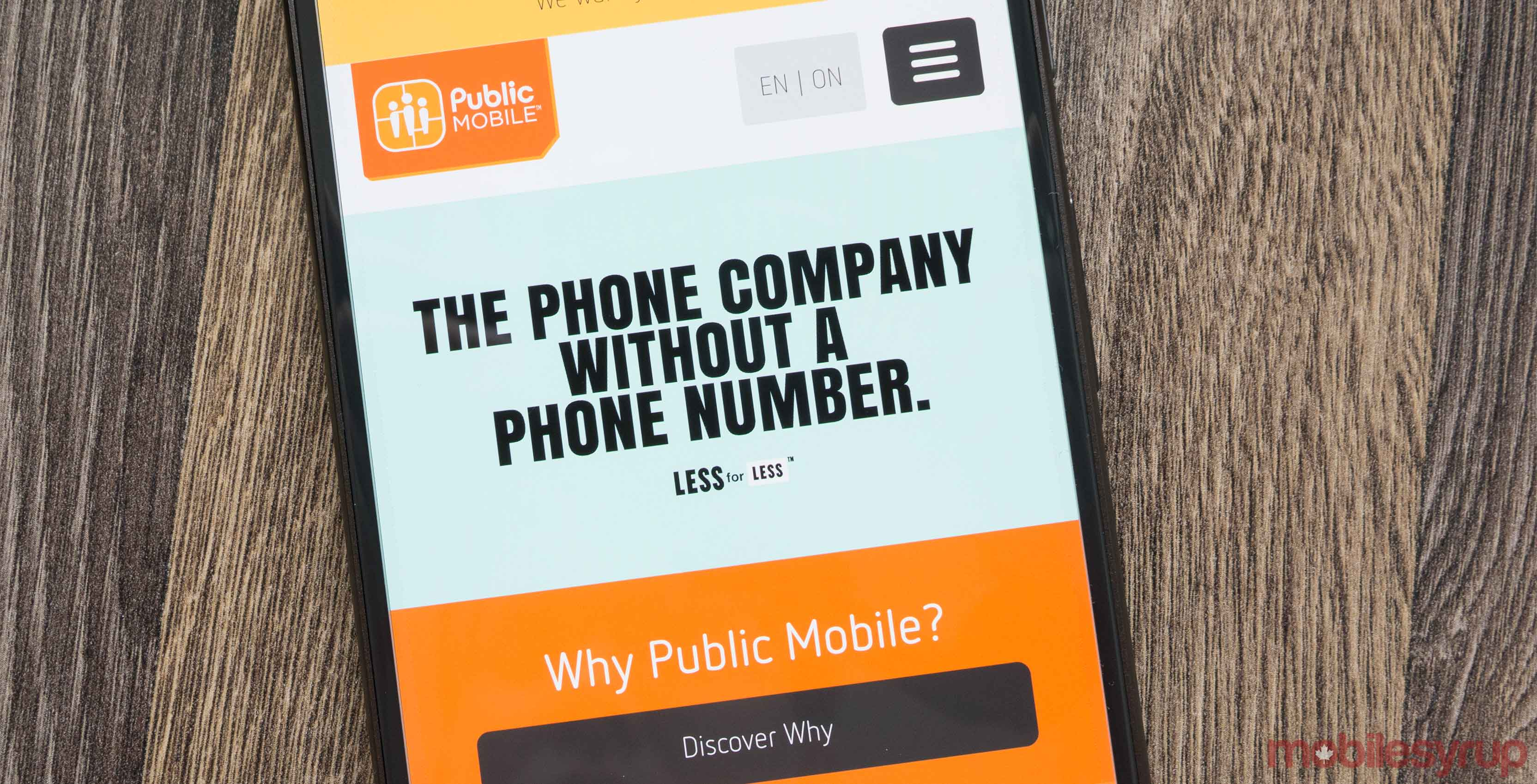 Public Mobile website