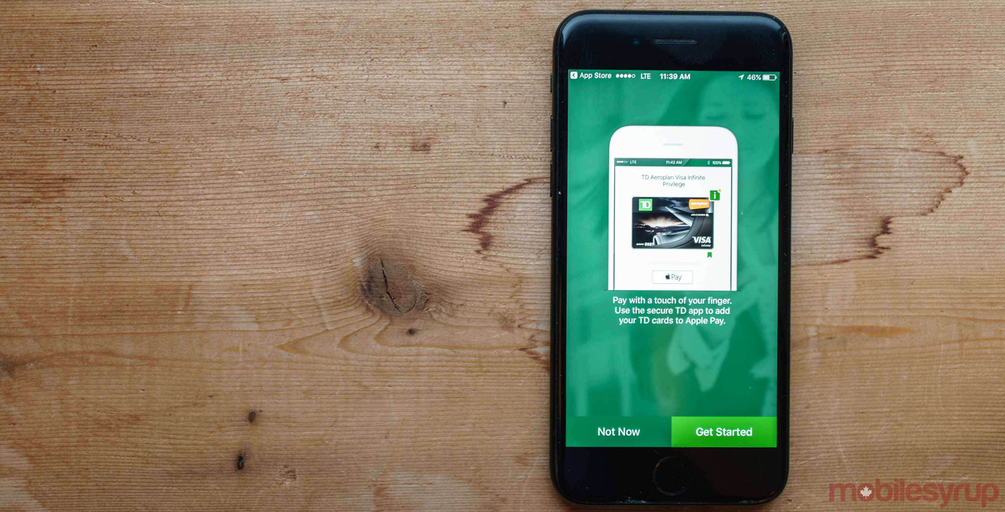 TD Canada Bank app on iPhone