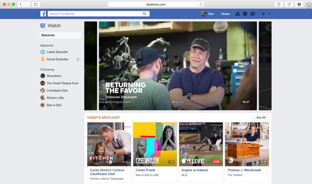 An image showcasing Facebook Watch's desktop interface