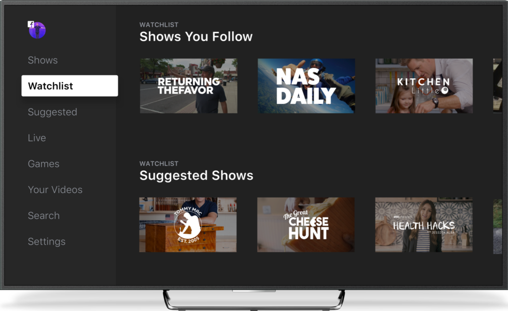 An image showing the Facebook Watch interface, with six programming examples