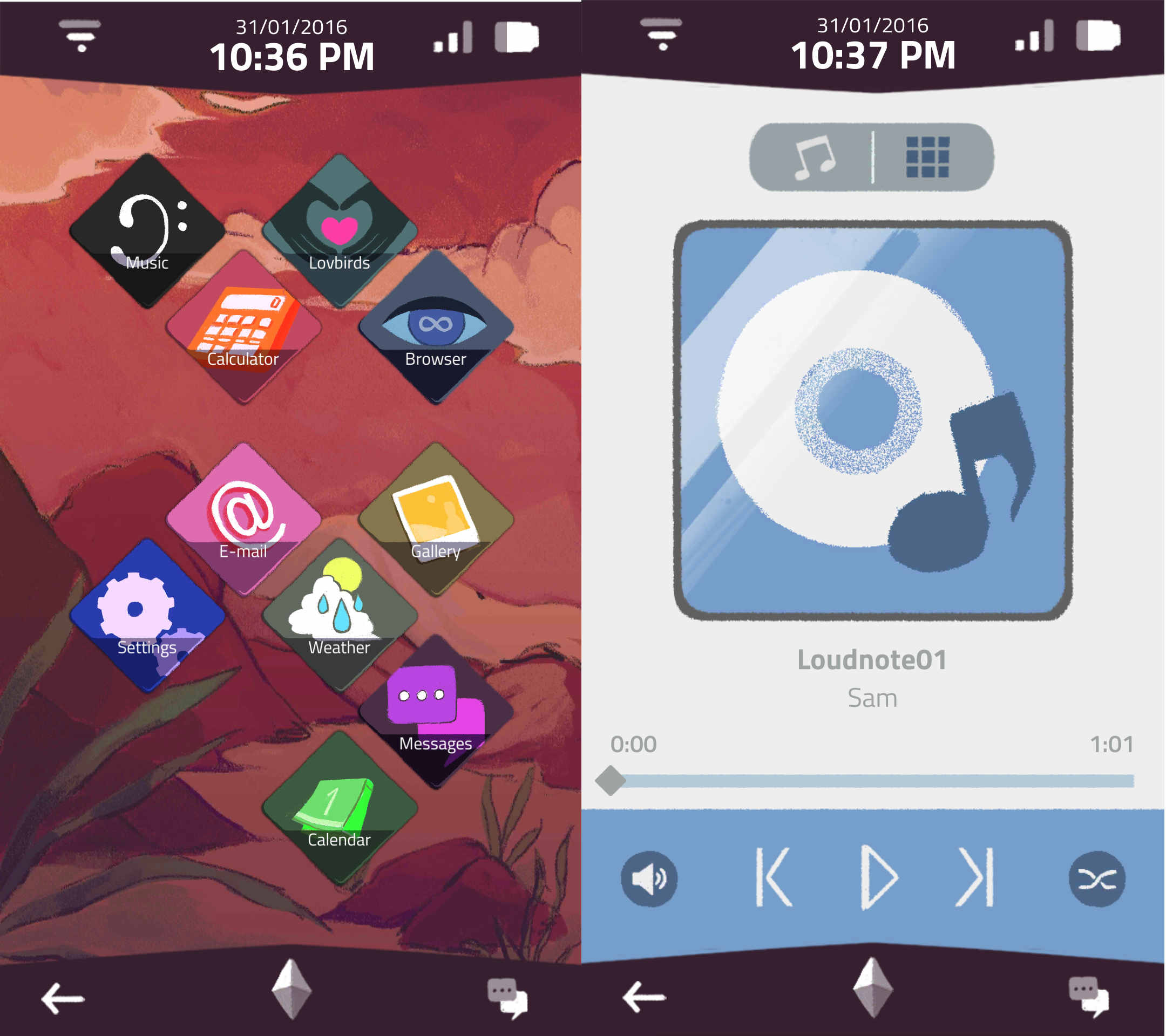 An image of the home page and music player