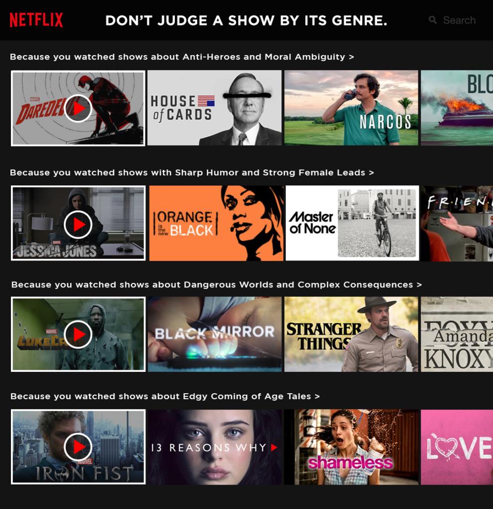 An image showing the Netflix main page