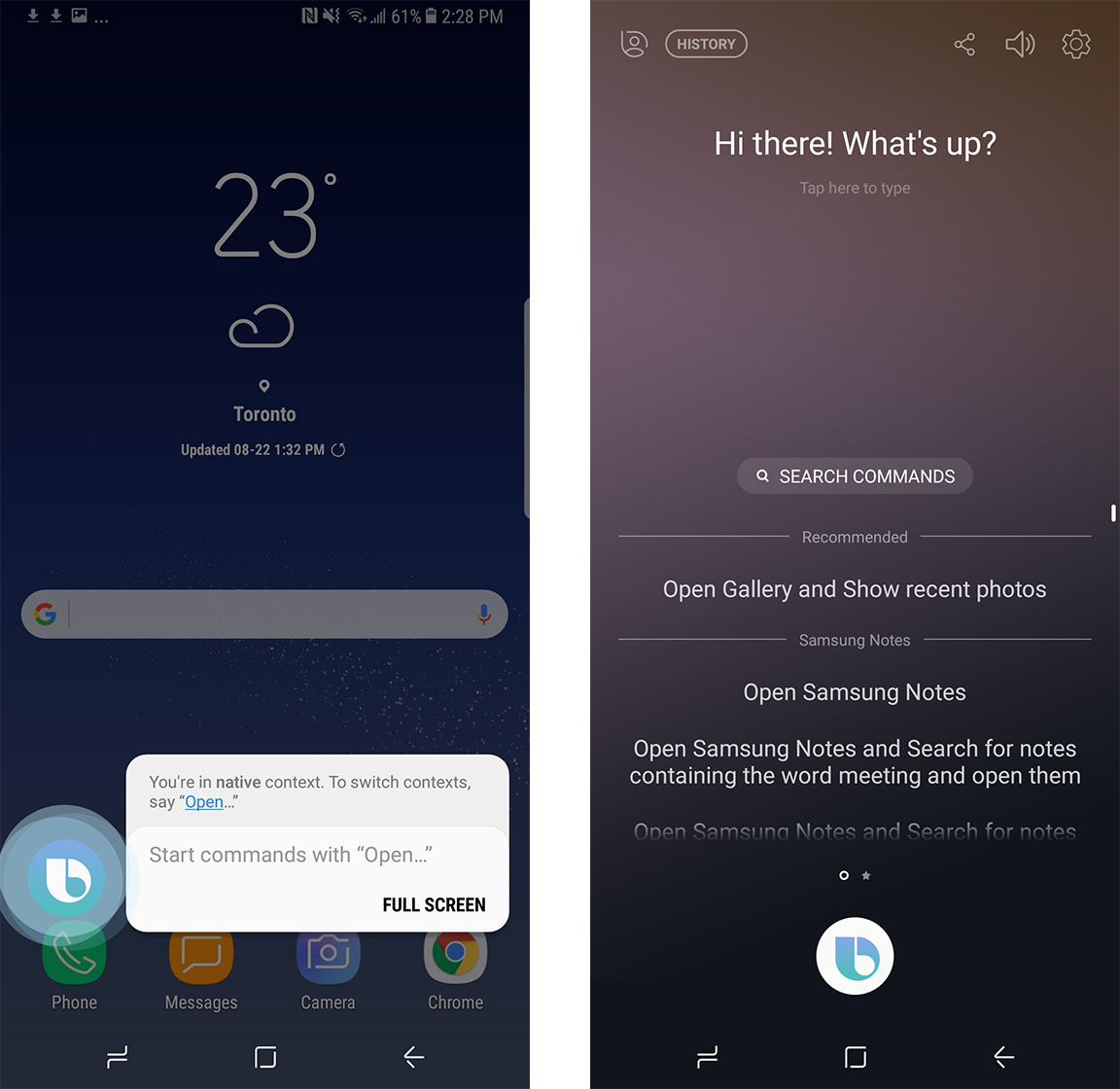 An image showing what Bixby's virtual assistant view looks like