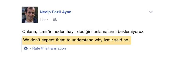 Facebook translation Turkish to English