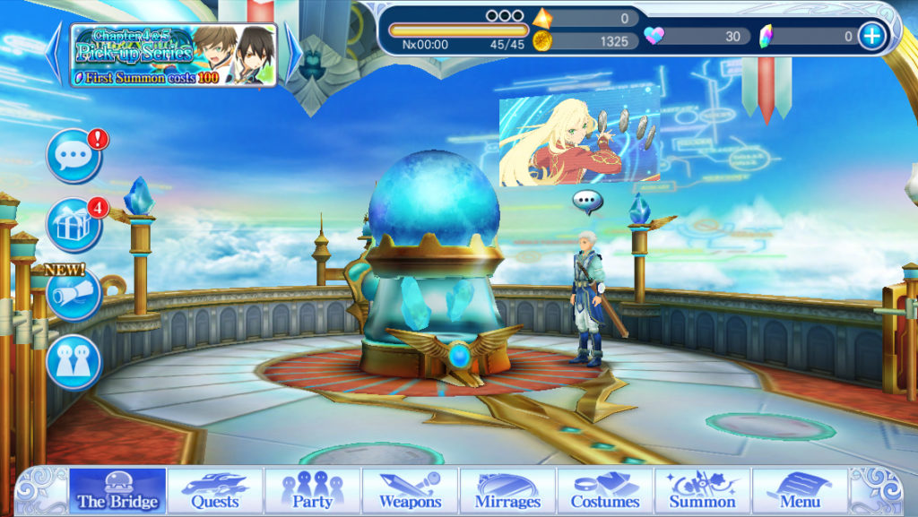 Tales of the Rays menu