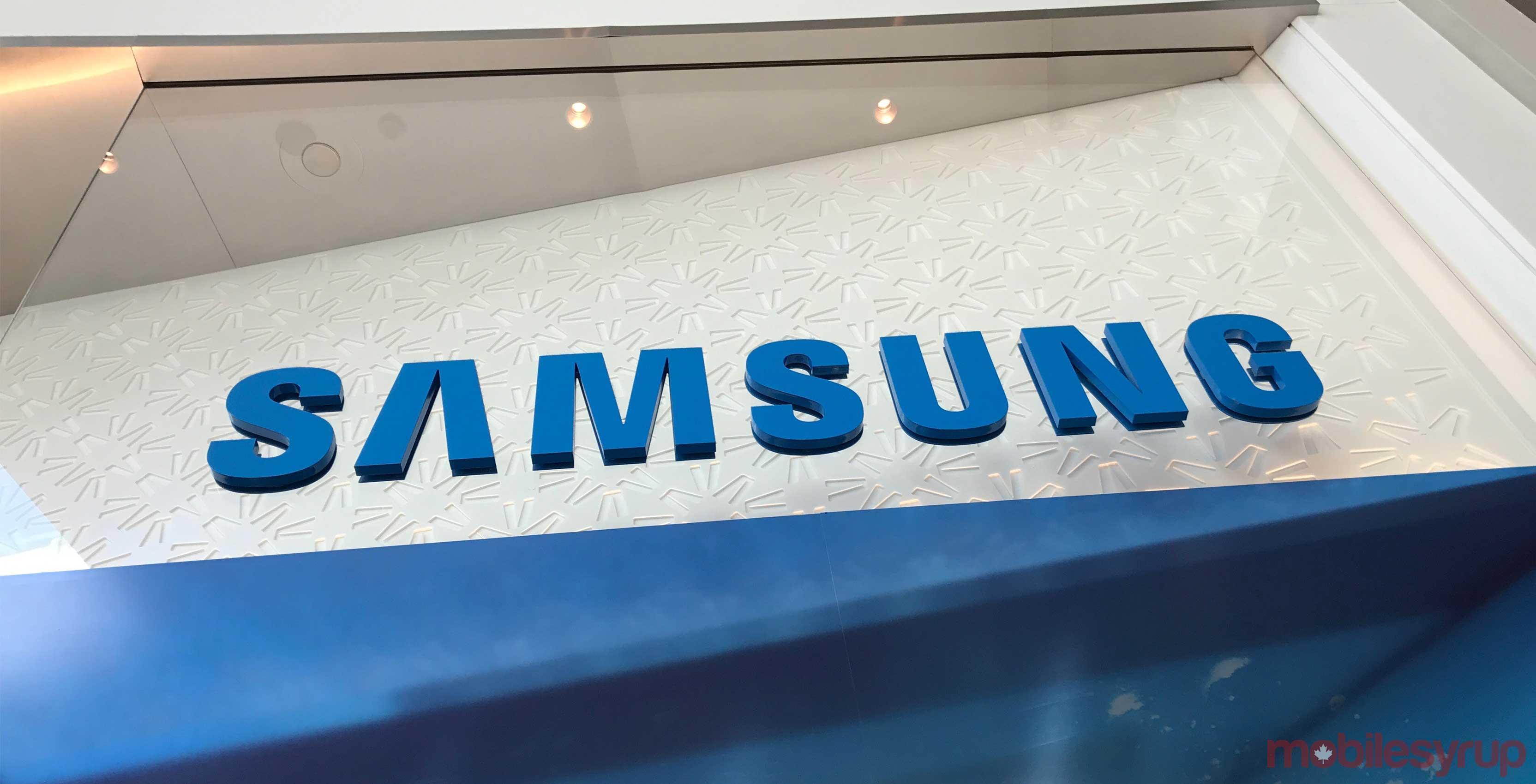 The blue Samsung store logo