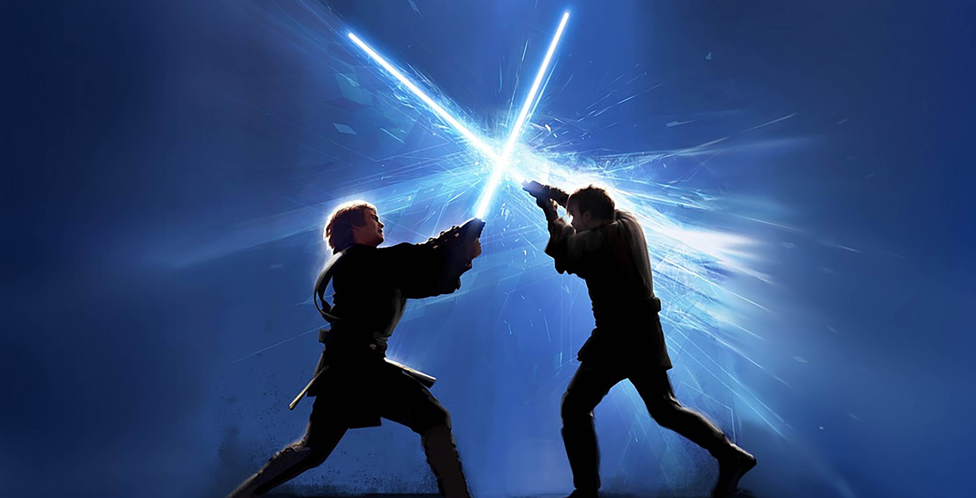 Anakin and Obi Wan light saber clashing