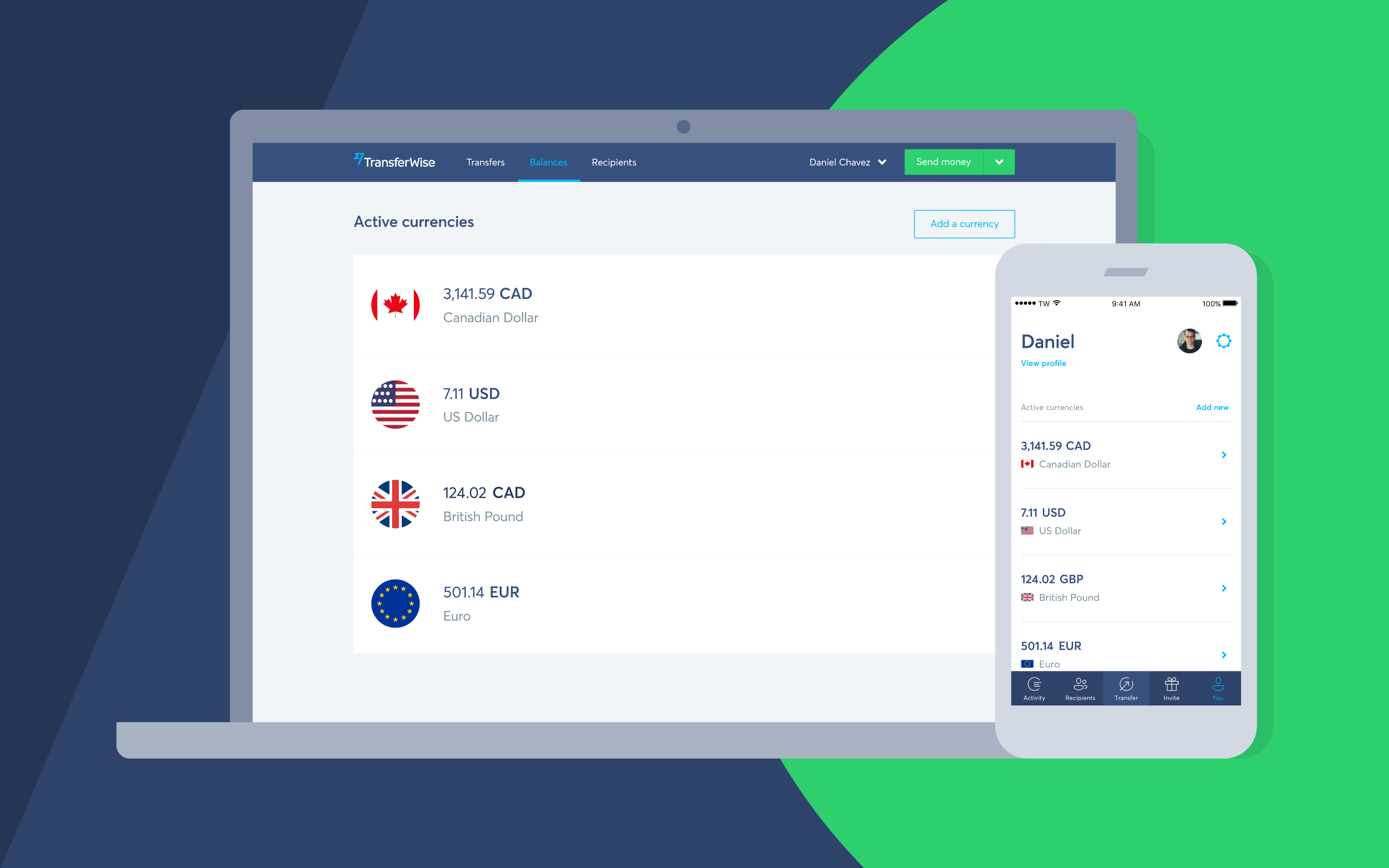 An image showing the TransferWise desktop and phone interface