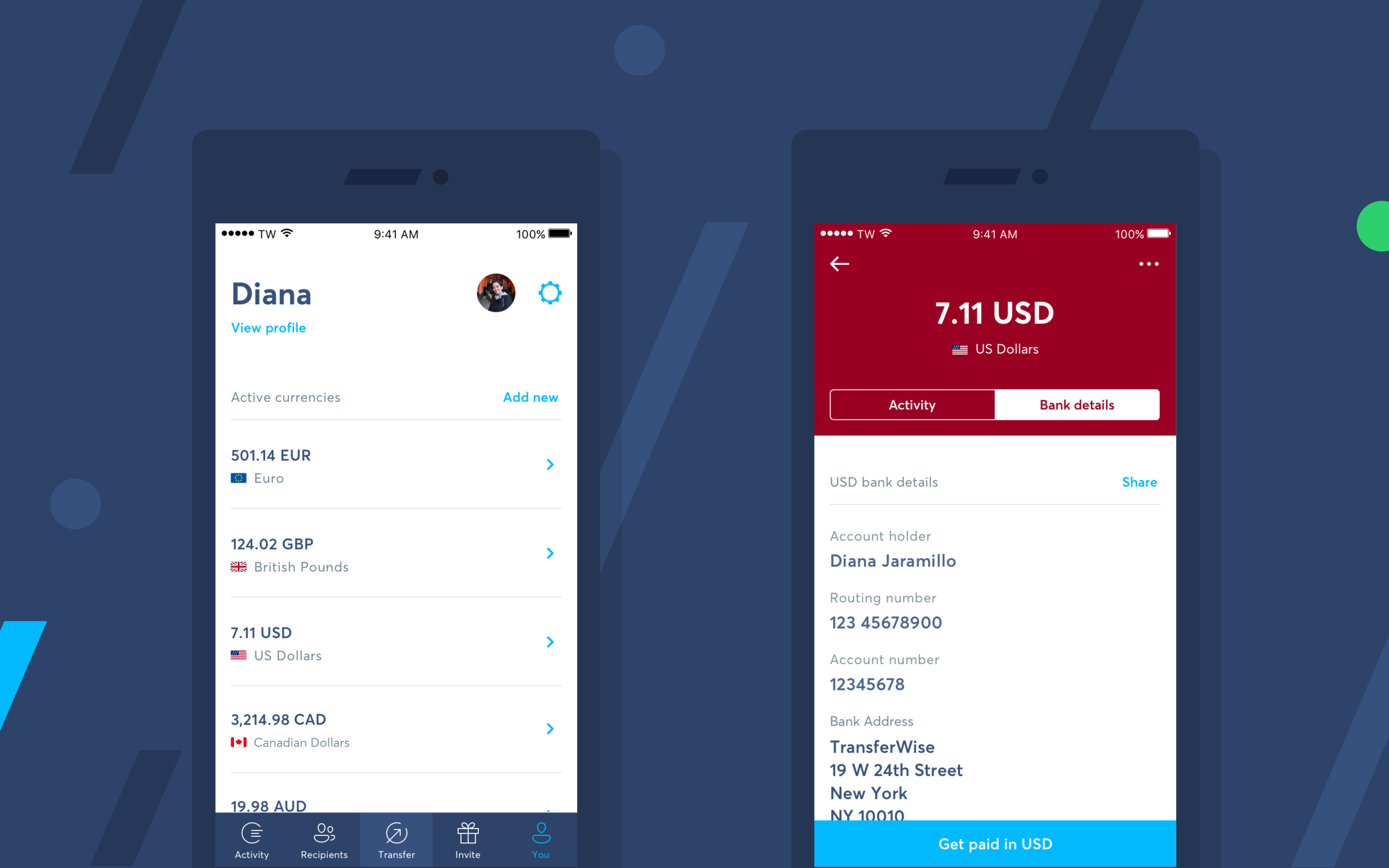 An image showing the TransferWise Borderless account interface on mobile