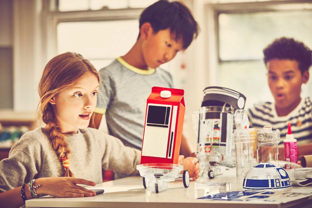 The Droid Inventor Kit with a milk carton