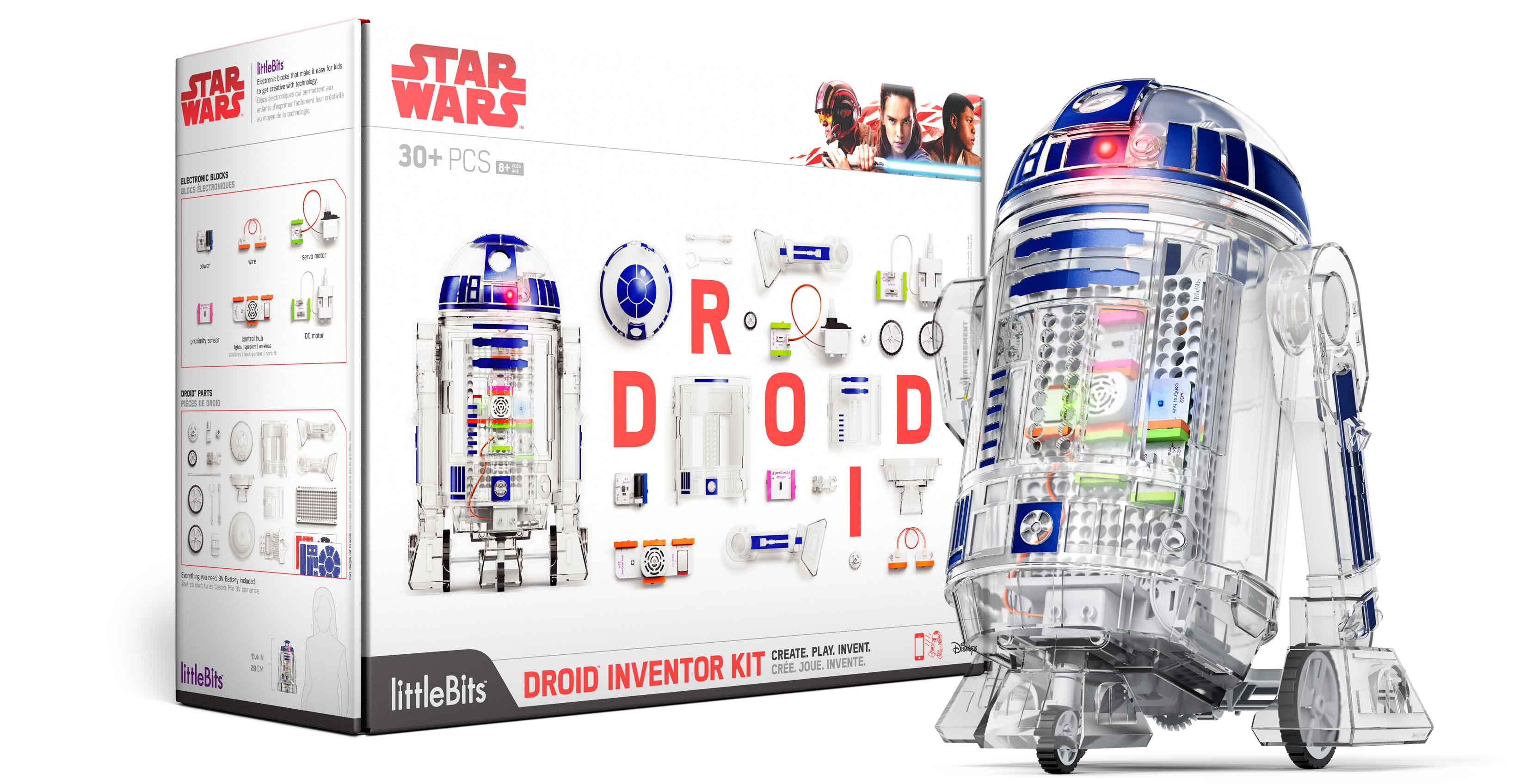 An image showing the Droid Inventor Kit box and completed droid