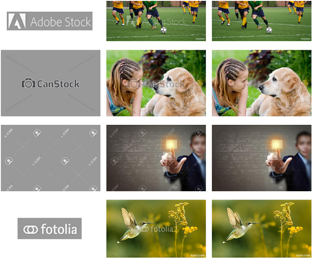 An image showing edited stock photos without watermarks