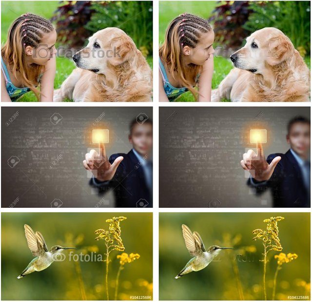 An image showing edited stock photos with visible watermark artifacts