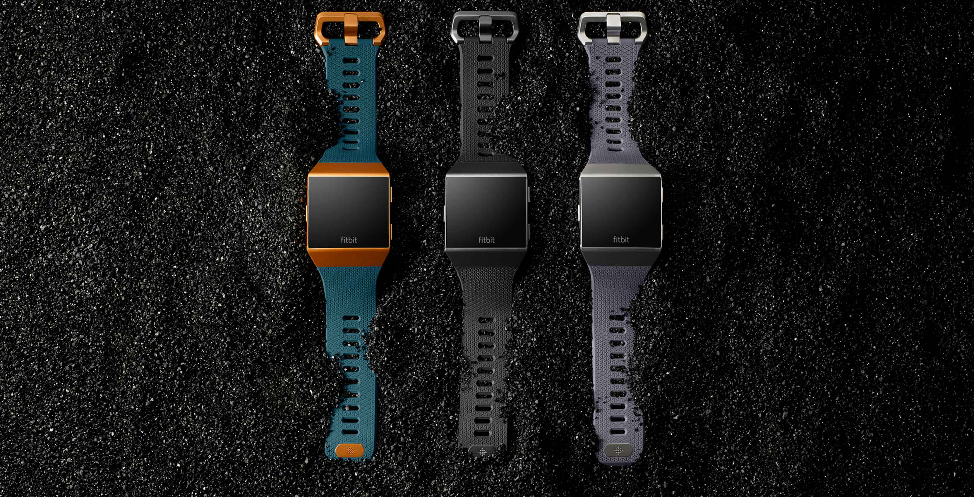 Fitbit's new Ionic smartwatch, in three different colours