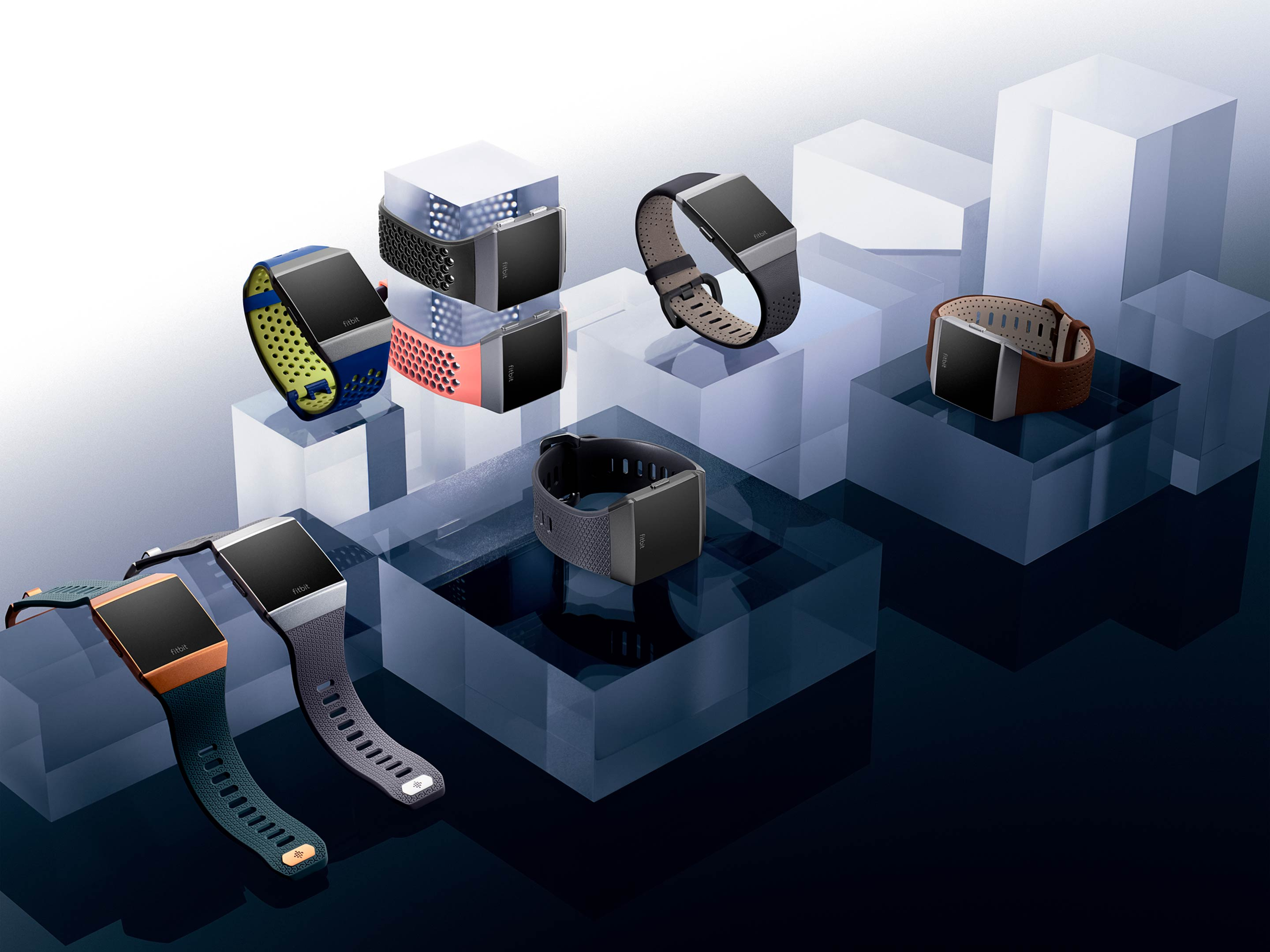 Image showing the different case and band combinations of the Fitbit Ionic