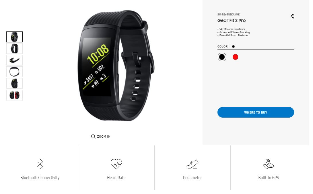 Gear Fit 2 Pro listing on Samsung's website