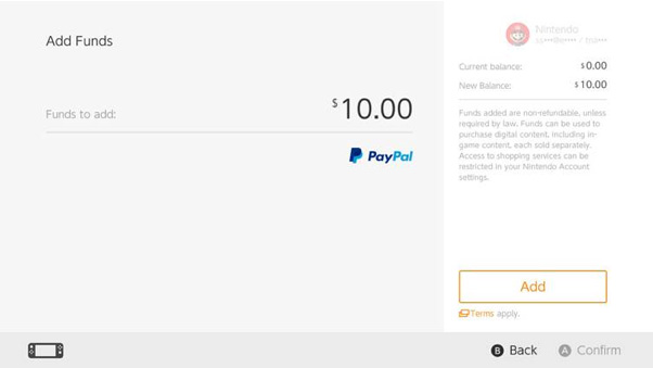 PayPal payment interface on the Nintendo Switch