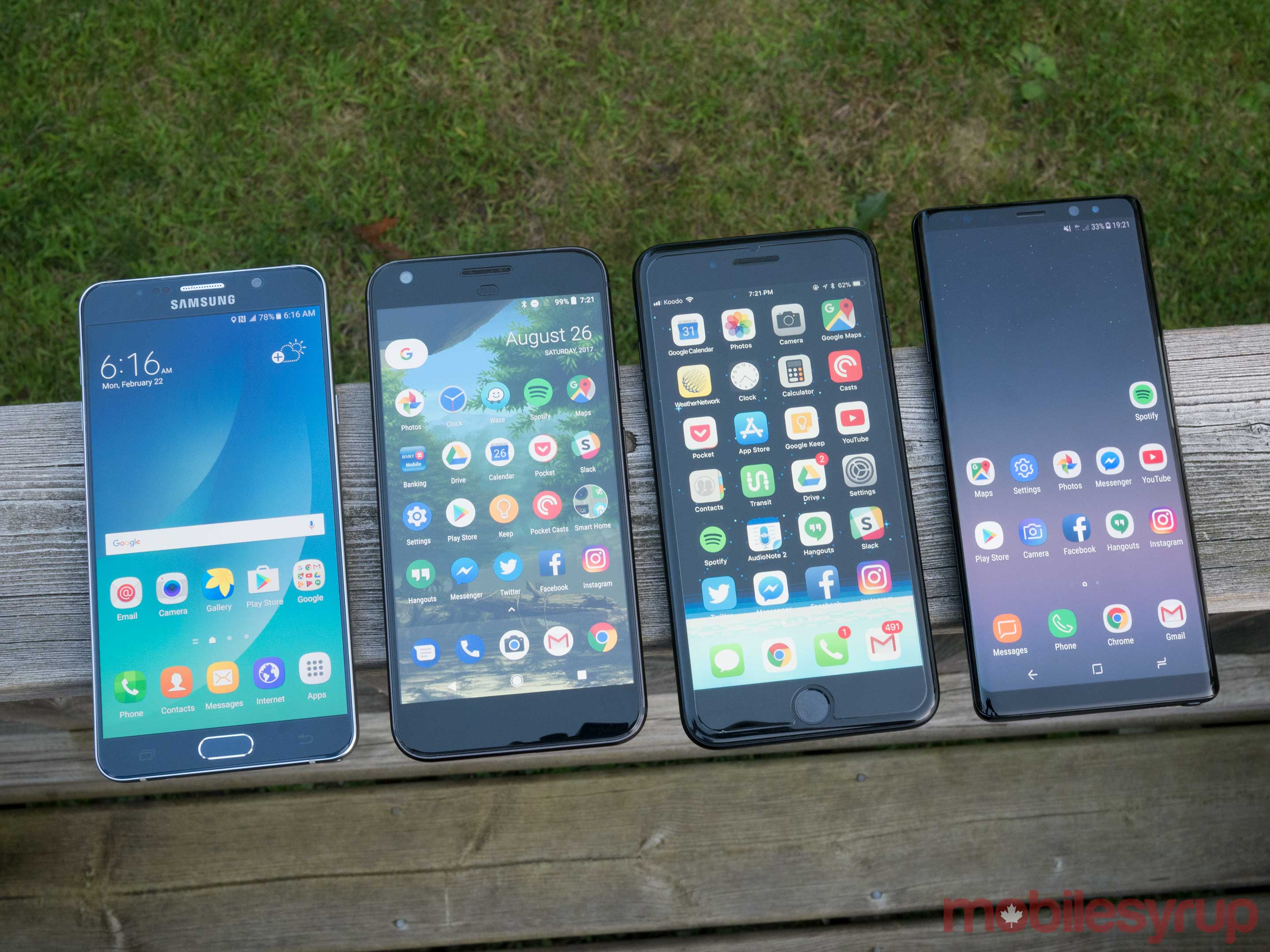 Note 5, Pixel, iPhone 7 Plus, Note 8
