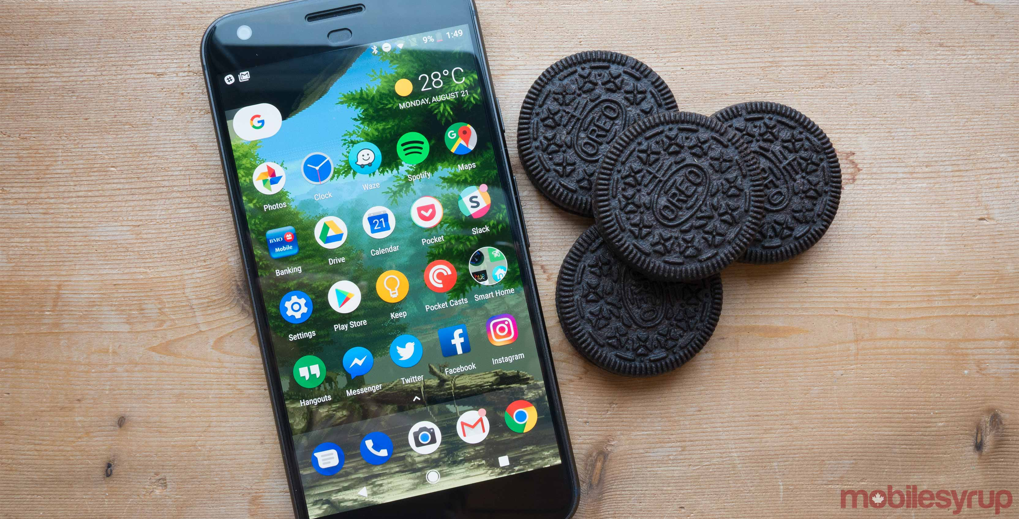 Pixel XL on table with Oreos