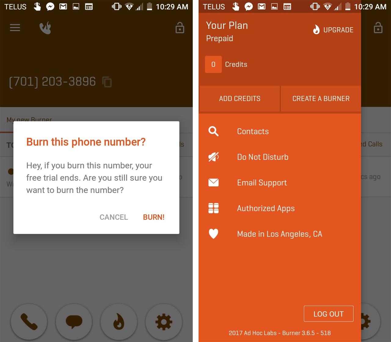 The context menu in the Burner app
