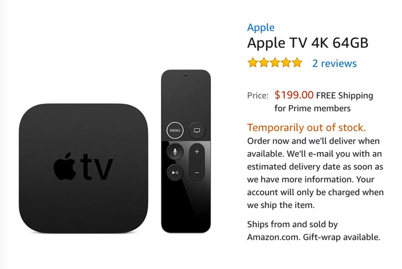 Apple TV 4K listing on Amazon